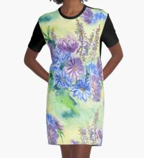 Watercolor Hand-Painted Purple Blue Daisies Daisy Flowers Graphic T-Shirt Dress