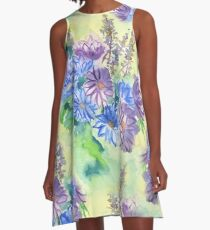 Watercolor Hand-Painted Purple Blue Daisies Daisy Flowers A-Line Dress