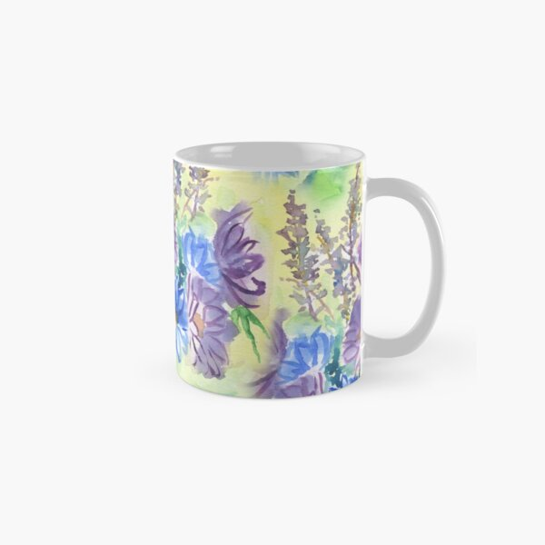 Watercolor Hand-Painted Purple Blue Daisies Daisy Flowers Classic Mug