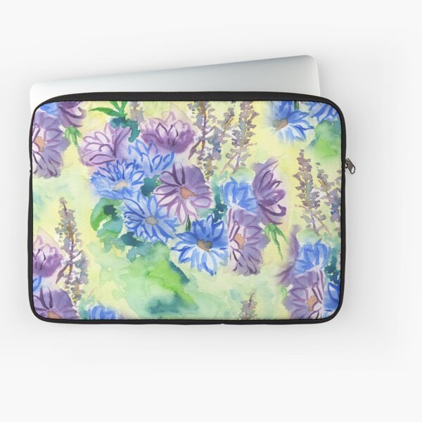 Watercolor Hand-Painted Purple Blue Daisies Daisy Flowers Laptop Sleeve