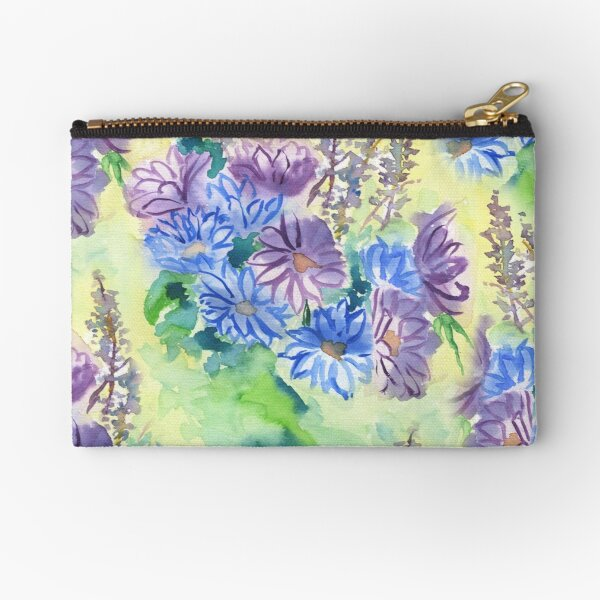Watercolor Hand-Painted Purple Blue Daisies Daisy Flowers Zipper Pouch