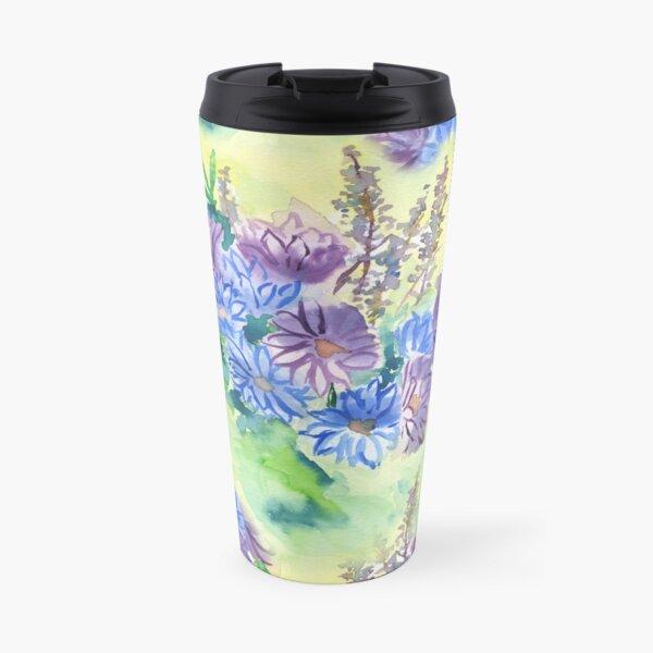 Watercolor Hand-Painted Purple Blue Daisies Daisy Flowers Travel Mug