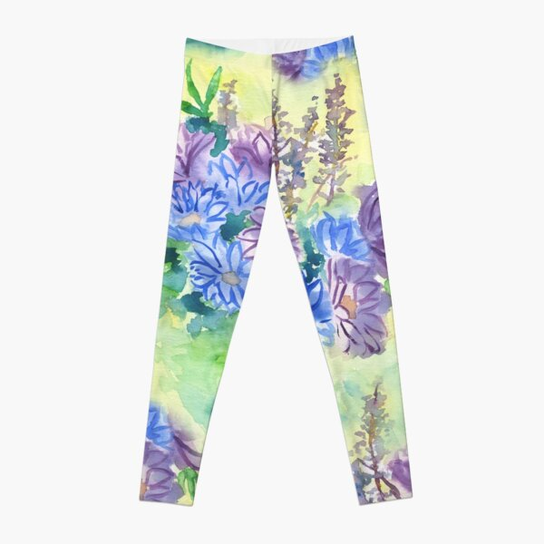 Watercolor Hand-Painted Purple Blue Daisies Daisy Flowers Leggings