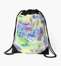 Watercolor Hand-Painted Purple Blue Daisies Daisy Flowers Drawstring Bag