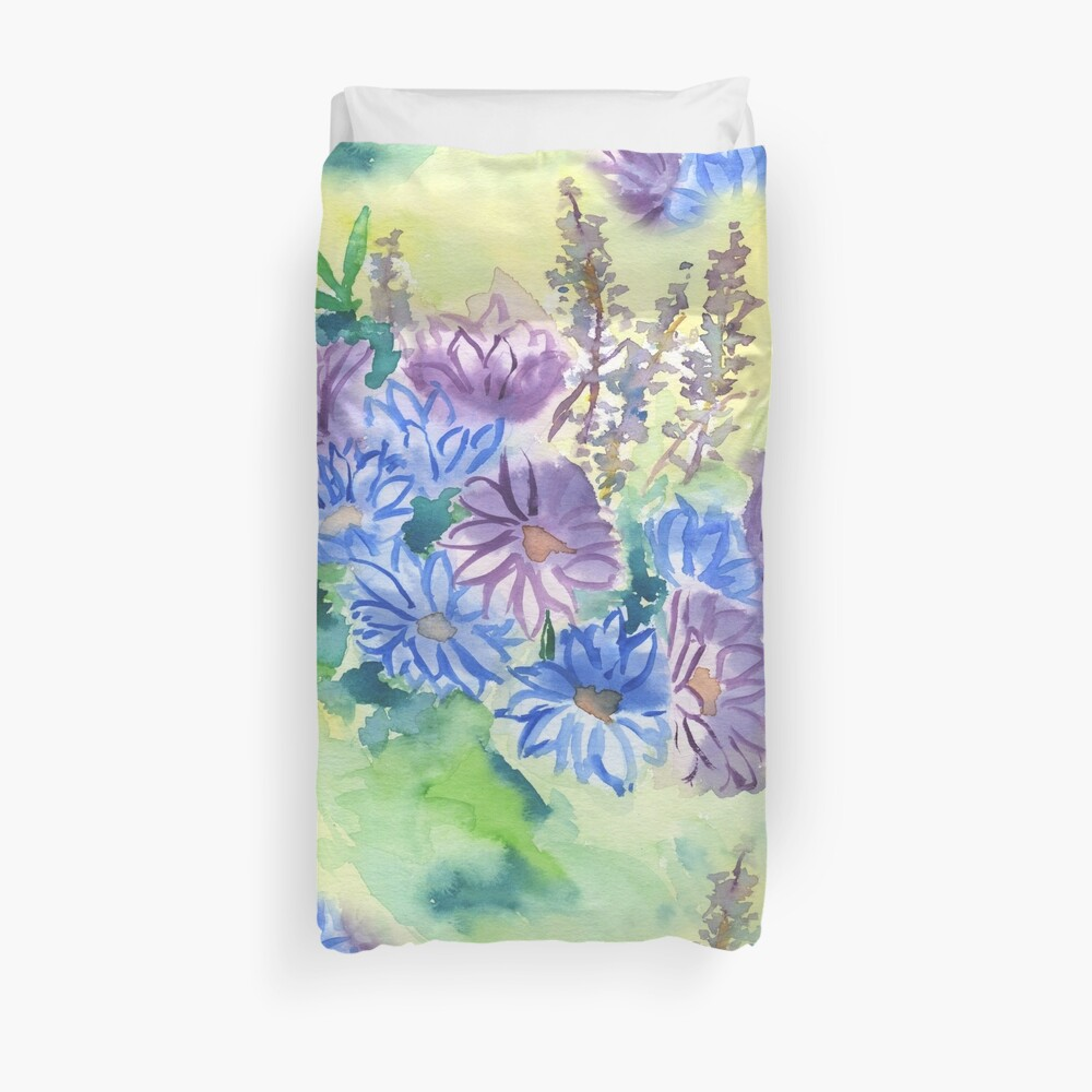 Watercolor Hand-Painted Purple Blue Daisies Daisy Flowers Duvet Cover
