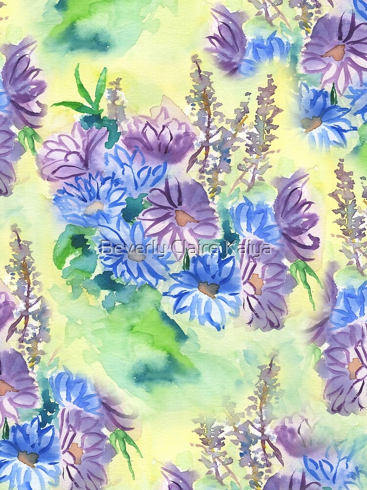 Watercolor Hand-Painted Purple Blue Daisies Daisy Flowers by beverlyclaire