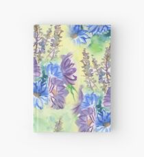 Watercolor Hand-Painted Purple Blue Daisies Daisy Flowers Hardcover Journal