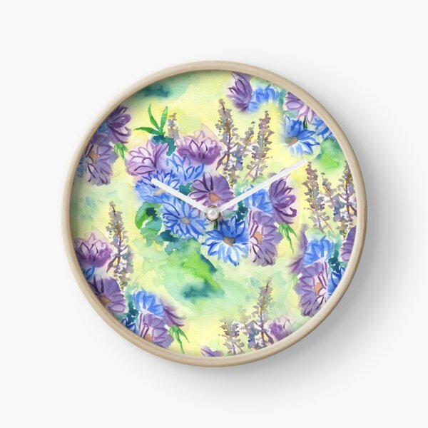Watercolor Hand-Painted Purple Blue Daisies Daisy Flowers Clock