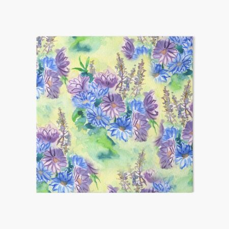 Watercolor Hand-Painted Purple Blue Daisies Daisy Flowers Art Board Print