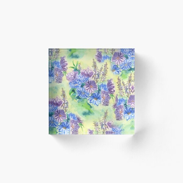 Watercolor Hand-Painted Purple Blue Daisies Daisy Flowers Acrylic Block