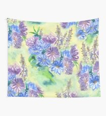 Watercolor Hand-Painted Purple Blue Daisies Daisy Flowers Wall Tapestry