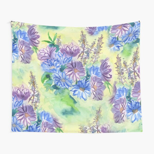 Watercolor Hand-Painted Purple Blue Daisies Daisy Flowers Tapestry