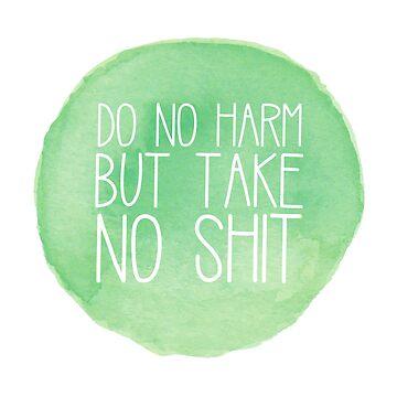 No hacer daño Green Watercolor Circle de annmariestowe