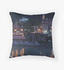 Rishikesh at Night - for Linaji Throw Pillow