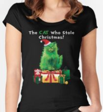 Green Grinch Cat Who Stole Christmas Funny  Women's Fitted Scoop T-Shirt