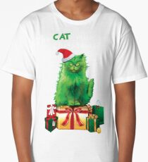 Green Grinch Cat Who Stole Christmas Funny  Long T-Shirt