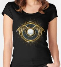 Mechanical Dragon Wings with a Lens ( Steampunk wings ) Women's Fitted Scoop T-Shirt