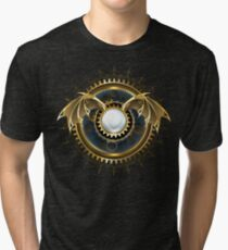 Mechanical Dragon Wings with a Lens ( Steampunk wings ) Tri-blend T-Shirt