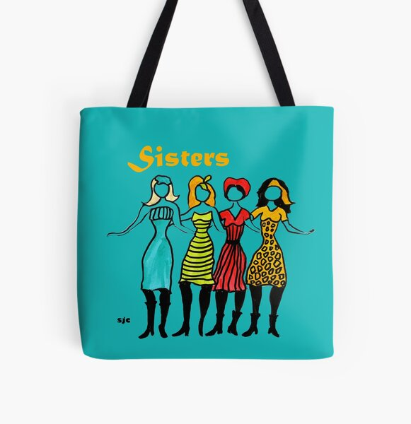 Four Sisters in Turquoise All Over Print Tote Bag