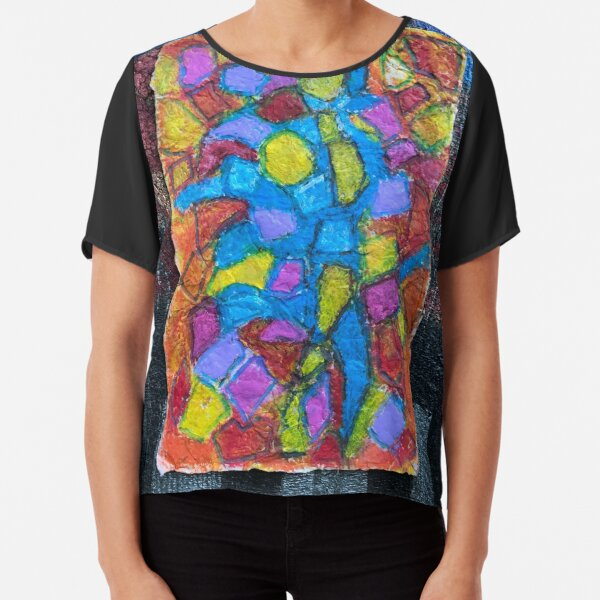 Stained glass cubism Chiffon Top