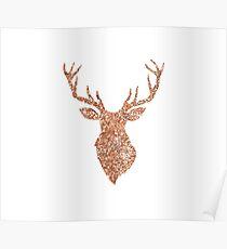 Sparkling reindeer blush gold Poster