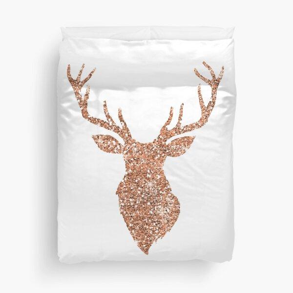 Sparkling reindeer blush gold Duvet Cover