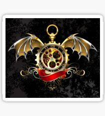 Clock with Dragon Wings ( Steampunk wings ) Sticker