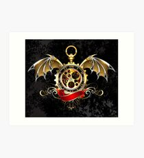 Clock with Dragon Wings ( Steampunk wings ) Art Print