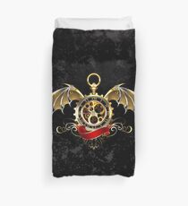 Clock with Dragon Wings ( Steampunk wings ) Duvet Cover