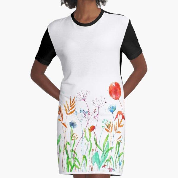 Flowerbed Graphic T-Shirt Dress