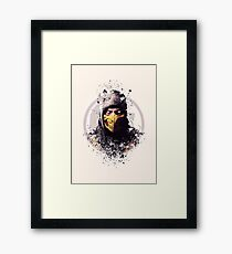 Mortal Kombat, Scorpion splatter Framed Print