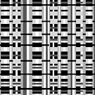Plaid Black White Gray Grey by Valerie  Fuqua