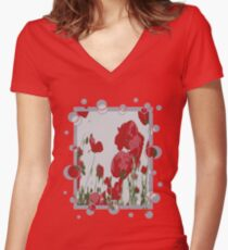 Poppy Field Of Remembrance Vector Women's Fitted V-Neck T-Shirt