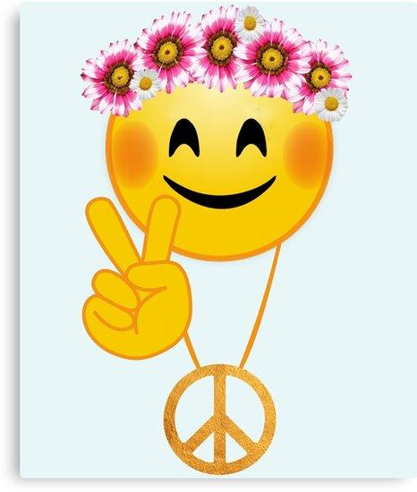Emoji Peace Sign Hippie Flowers Daisy Wreath Canvas Prints By