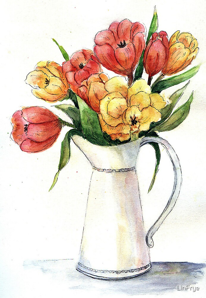 Tulips in White Vase by LinFrye