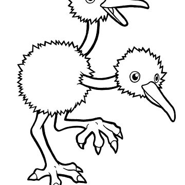 Doduo Lineart Drawing by ArkainStudios