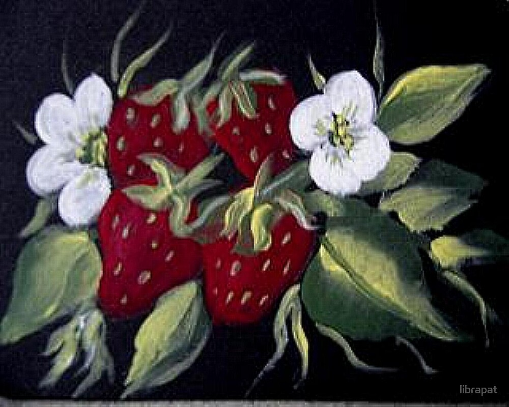Strawberries and Blossoms - Acrylic Painting by librapat