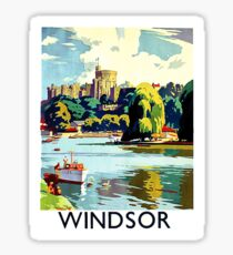 Windsor castle, Great Britain, vintage travel poster Sticker