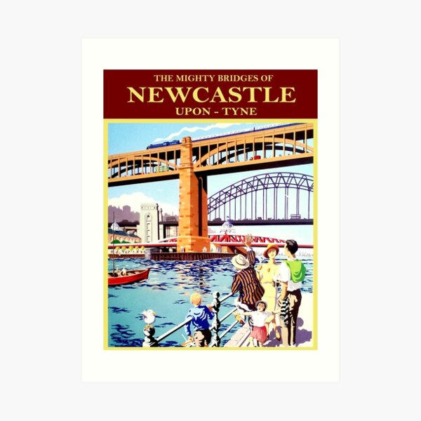 Mighty bridges of Newcastle, England, port Art Print