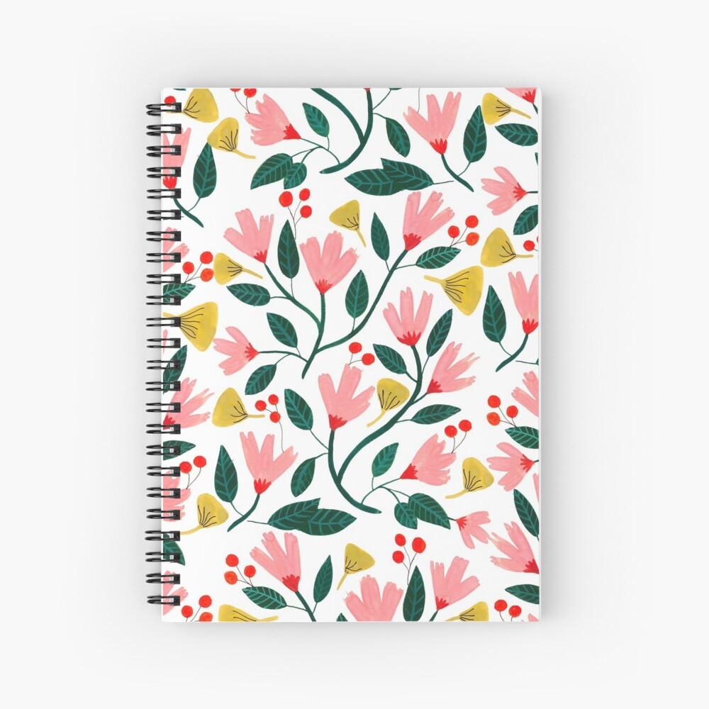 Pink Floral Pattern Spiral Notebook