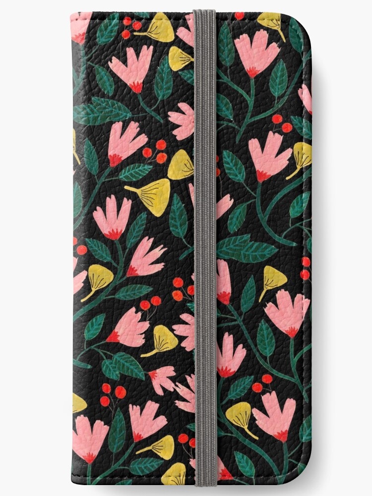 Pink Florals on Black by Iisa Mönttinen