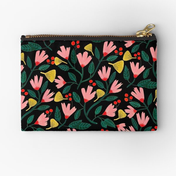 Pink Florals on Black Zipper Pouch