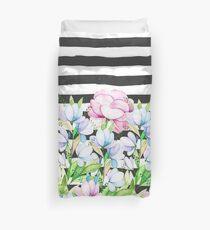 Schwarz-weiße Pinselstriche Lavendel rosa Aquarell floral Streifen Bettbezug