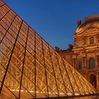 The Louvre at Night With Pyramid by Michael Matthews