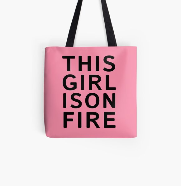 This girl is on fire. - Black All Over Print Tote Bag
