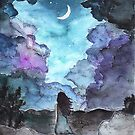 Moon child: watercolor painting by brabikate