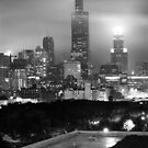 Chicago Skyline from the Rooftop - Black and White by Gregory Ballos