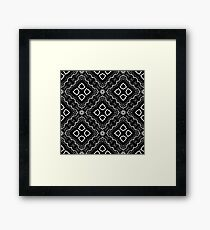 Seamless Texture on Black. Element for Design. Ornamental Backdrop. Pattern Fill. Ornate Floral Decor for Wallpaper. Traditional Decor on Background Framed Print