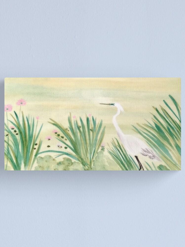 Alternate view of Egret & Lotus Canvas Print