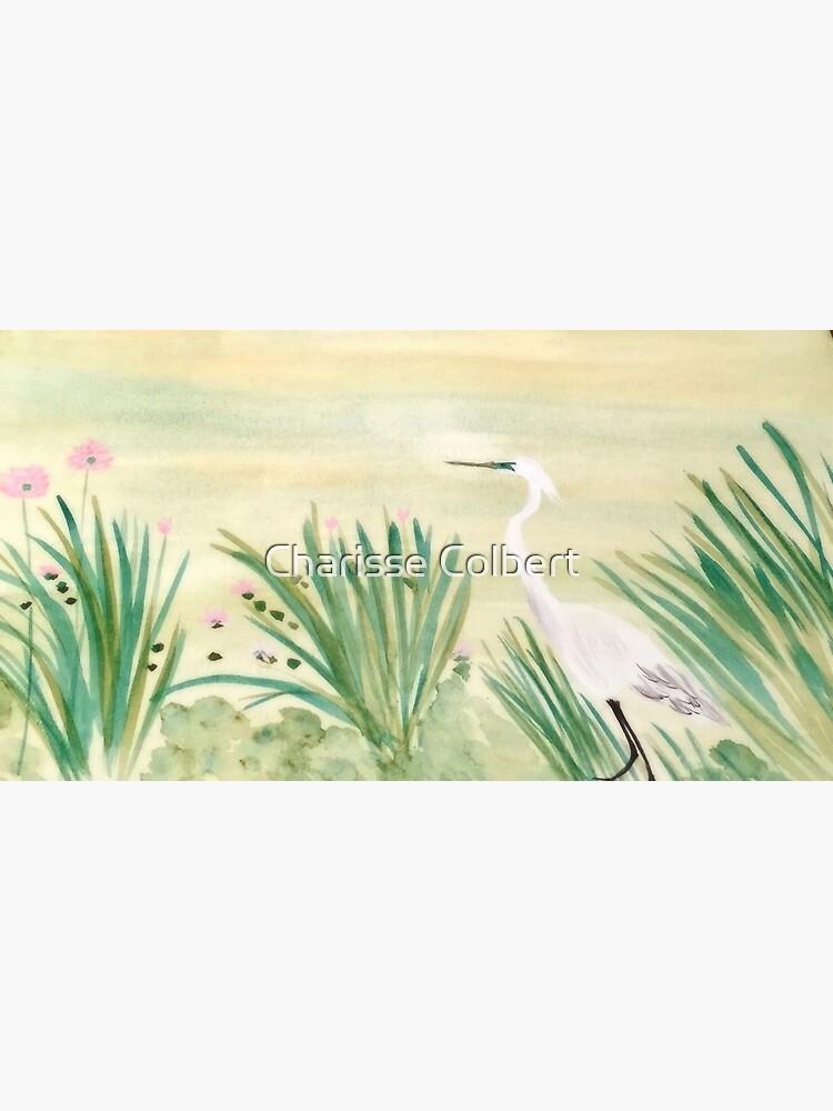 Egret & Lotus by charissecolbert